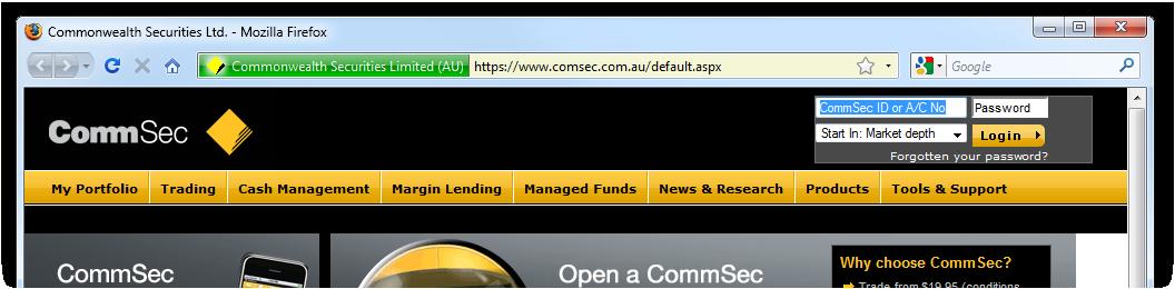 CommSec homepage