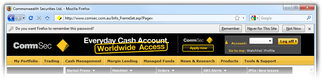 CommSec members only page