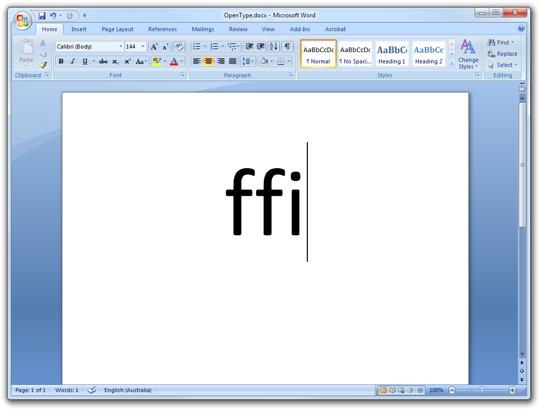 No OpenType ligatures in Word 12 without paragraph marks