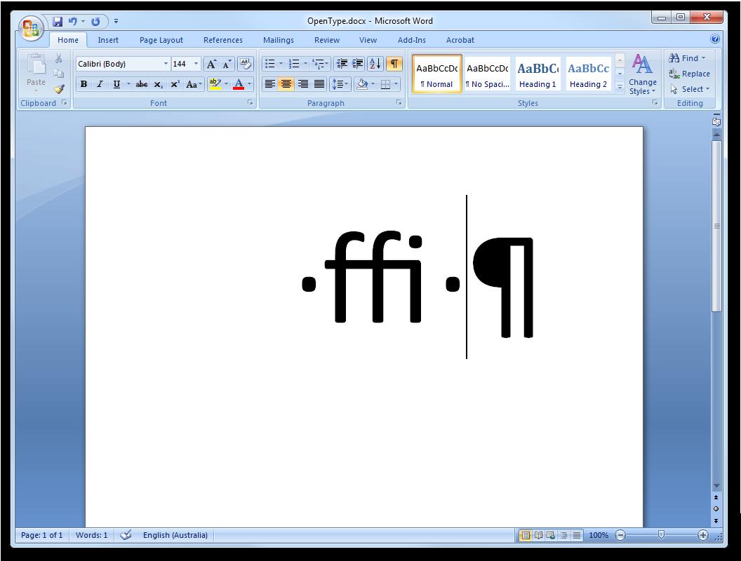 OpenType ligatures in Word 12