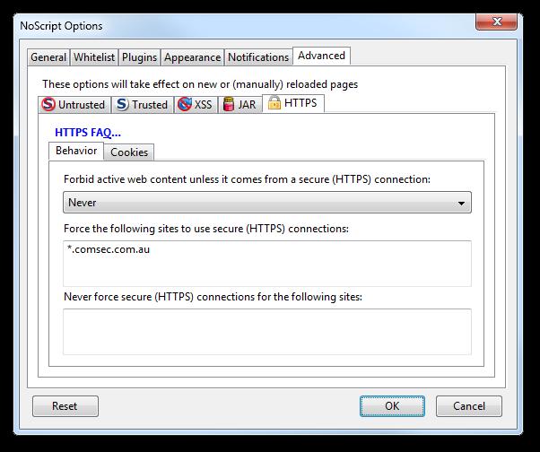 NoScript HTTPS options