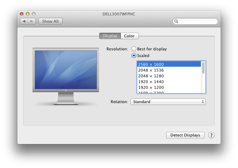Display preferences on MacBook Pro with Retina Display with correct resolution settings