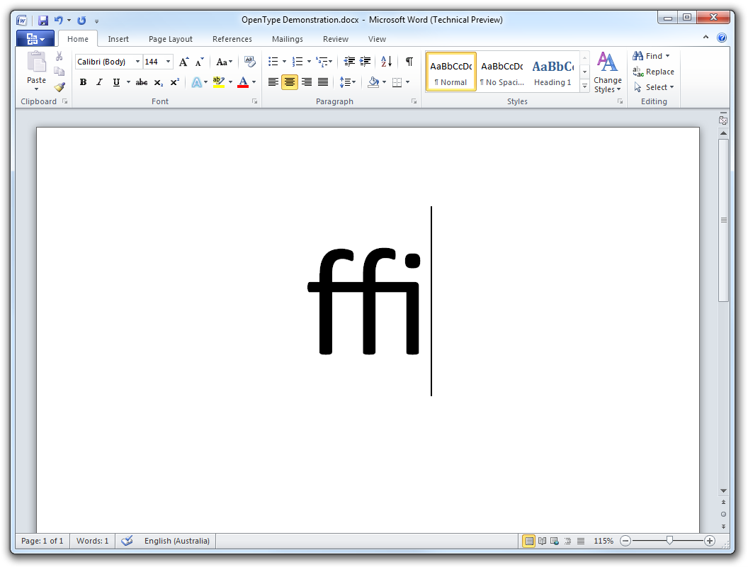 An ffi ligature in Microsoft Word 2010